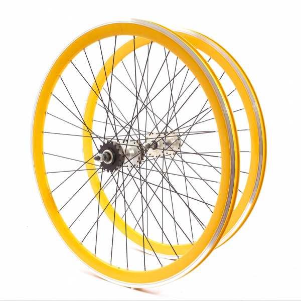 """KHE Fixie Laufradsatz 700c 28"""" Zoll 40mm Dreifachkammer gelb"""