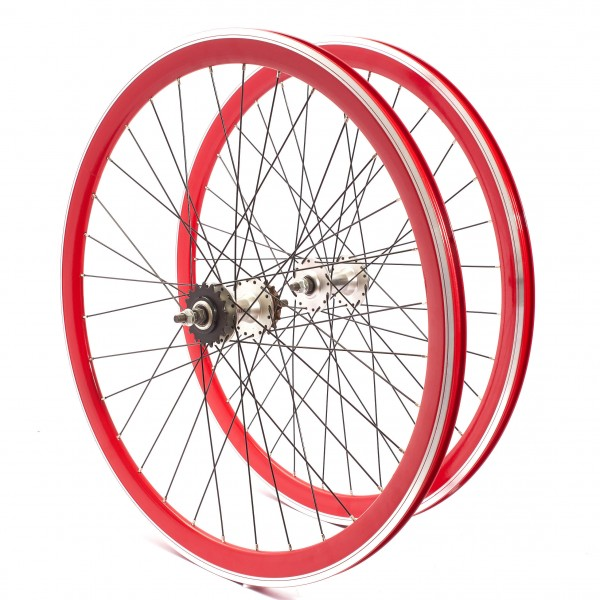 "KHE BIKES wheel set 700c, 28"" - sealed bearing 40mm rim red"